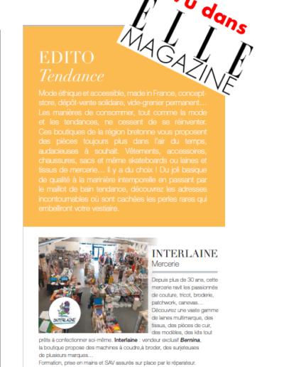Article INTERLAINE vu dans le Magazine ELLE